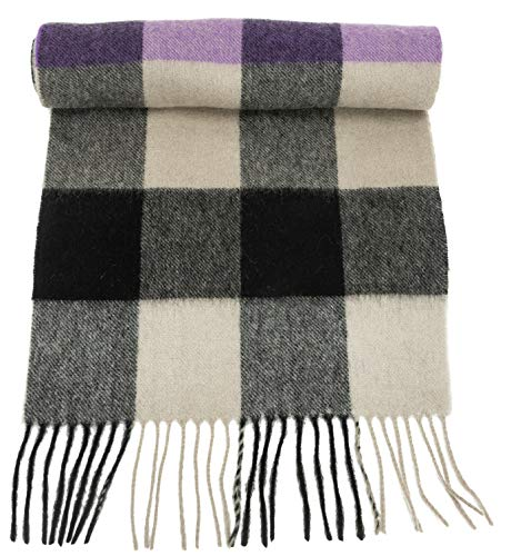 100% Virgin Wool Scarf for Women, Solids, Plaids, Warm Soft Luxurious by CANDOR AND CLASS (Sepia Wide Plaid) ()