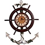 Clock Pirate Ship Anchor Wheel Nautical Clock