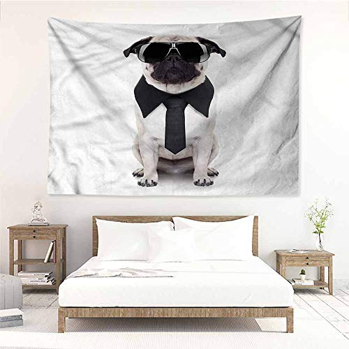 - Sunnyhome Large Wall Tapestry,Pug Cool Dog with Tie Glasses,Stylish Minimalist Fresh Style,W23x19L