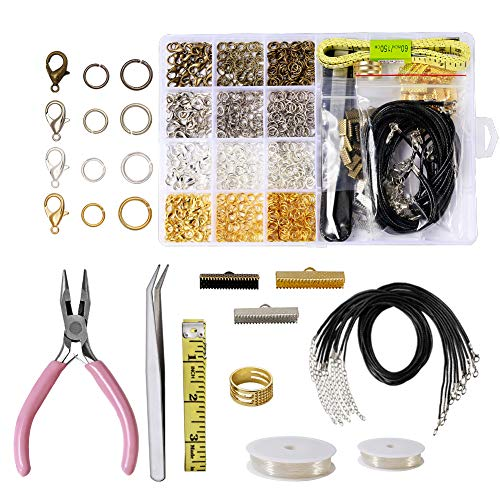 Jewelry Making Repair Kit with Jewelry Jump Rings Lobster Clasps Jewelry Pliers Brass Jump Ring Opener Tweezers Elastic Line Black Waxed Necklace Cord for Necklace Jewelry Making