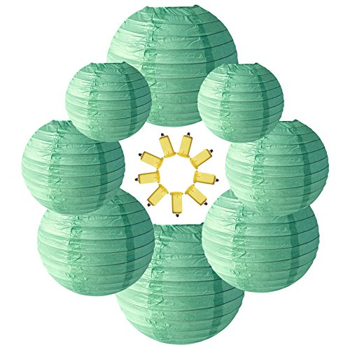 Neo LOONS Mint Green Round Chinese/Japanese Paper Lanterns Metal Framed Hanging Lanterns with Warm White LED lights-- Assorted Sizes--Birthday/Wedding/Party Supplies Favors Hanging Decoration