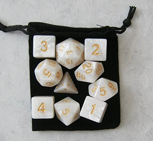 Elven White RPG D&D Dice Set: 7 + 3d6 = 10 polyhedral die plus bag! by Dave's Dice