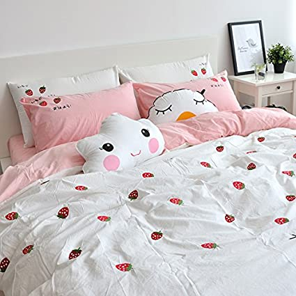 e52b6df263 Amazon.com: MZPRIDE Strawberry Embroidered Bedding Set Japanese ...