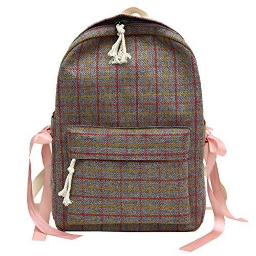 Cgeolhni Women Sen Literary Retro Plaid Bags Female Small Fresh Plaid Bow Student Backpack (Gray)