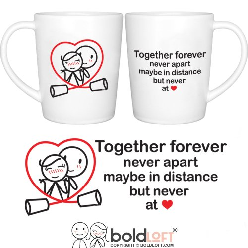 BOLDLOFT Together Forever His and Hers Coffee Mugs-Couple Coffee Mugs,Couple Gifts,Gifts for Boyfriend,Girlfriend,Valentines Day,Anniversary,Valentines Day Gifts for Him,His and Hers Gifts,Love Gifts