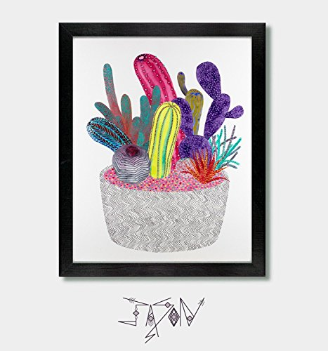 Cactus Decor, Cactus Print, Arizona, Tucson, Texas, Boho Decor, Wall Art, Art Prints, Artwork, Mexican, Southwest, Southwestern, New Mexico, Mexico, Mexican Folk Art, Modern Art ()