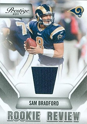 Autograph Warehouse 343646 Sam Bradford Player Worn Jersey Patch Football Card - St. Louis Rams 2011 Panini Prestige No. 36 - St Louis Rams Football Jersey