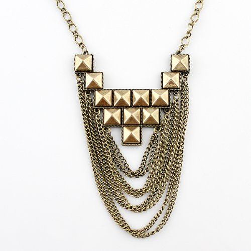 Wholesale Delicate New Style Alloy Elegant Tassel Chains Spike Chunky Necklace with Free Jewelry Pouch