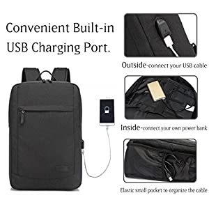 17 inch Laptop Backpack for Men and Women with USB Charging Port Lightweight Slim Business Computer Rucksack with Waterproof Rain Cover