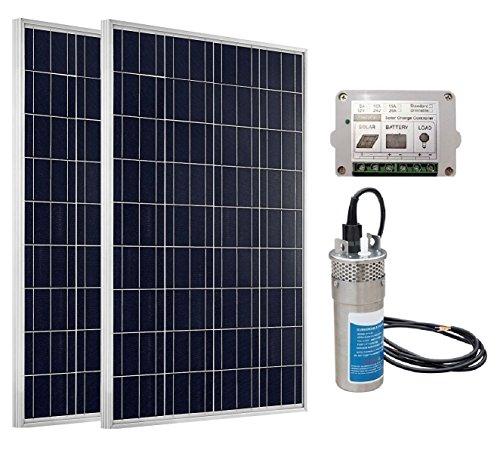 ECO-WORTHY 180W Panel Solar Bomba de agua eléctrica sumergible System: 2 pcs 12V 90W Panels + 24 V DC bomba de agua…