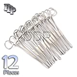 DDP SET OF 12 PENNINGTON FORCEPS NON-SLOTTED 6'' STAINLESS STEEL PROFESSIONAL BODY PIERCING TOOL