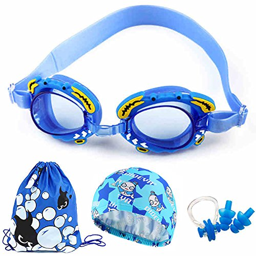 June Sports Swim Goggles, Swimming Goggles Cute for Kids 3-12 Year Old Anti Fog UV Protection No Leaking Clear Lens for Children Youth Boys Girls Swimming Cap Ear Plugs Nose Piece Portable Bag SG29