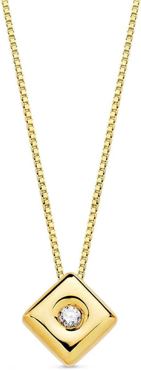 Alda Joyeros Gargantilla con Diamante Oro Amarillo 18K Collar Chatón Rombo Brillante 0,015 CT. Cadena Veneciana. Punto de Luz