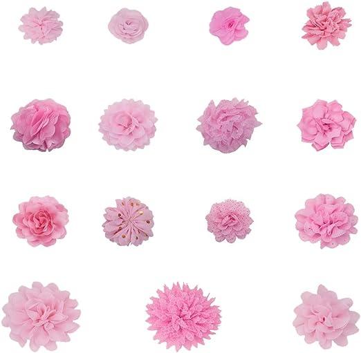 NBEADS Flores de Gasa, 15 Piezas de Tela de Flores Rosadas Parches ...