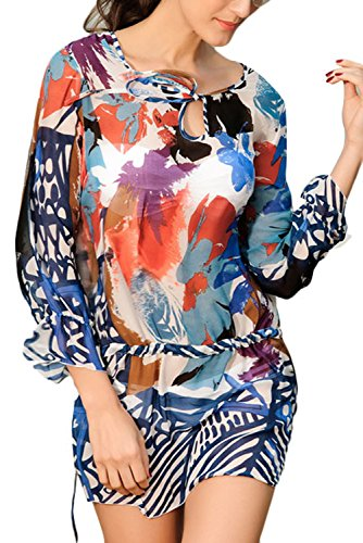 Dearlovers Women Hollow out Silk Printing Beach Bikini Cover-up Dress One Size Multicolor