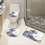 jwchijimwyc Japanese Wave 3 Piece Bathroom Rug Set Oriental Vintage Great Wave Monochrome Kanagawa Inspired Antique Art customized Black and White