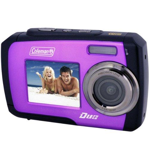Coleman Duo 2V7WP Dual Screen Shock & Waterproof Digital Camera (Purple) with 16GB Card & Reader + Float Strap + Flex Tripod + Kit