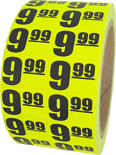 $9.99 In-Store Use Day-Glo Yellow Display Labels 3/4