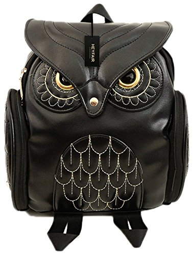 HEYFAIR Women Cute Owl Leather Backpack Casual College