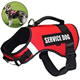 FML PET Adjustable No Pull Service Dog Harness Reflective Rope Soft Plastic Handle Harness Vest Back Leash Attachment Easy Control Handle Small Medium Large Dog Animals