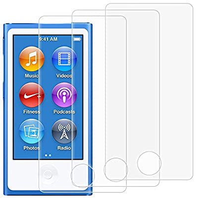 Screen Protectors for iPod Nano 7th 8th Generation, AFUNTA Set of 3 Full Coverage Tempered Glass Protective Films, HD Clear Anti-Scratches Bubble Free for Apple iPod Nano 7 8 from AFUNTA