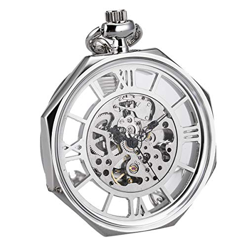 - Mens Pocket Watch Open Face Automatic Mechanical Octagon SIBOSUN Antique Silver with Chain + Gift Box