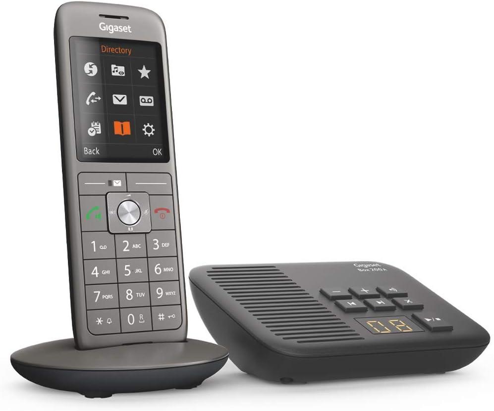 Gigaset CL660A - Teléfono (Teléfono DECT, Terminal inalámbrico, Altavoz, 400 entradas, Antracita, Negro)