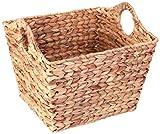 Vintiquewise QI003362.L Water Hyacinth Square Wicker Shelf Basket (Large)