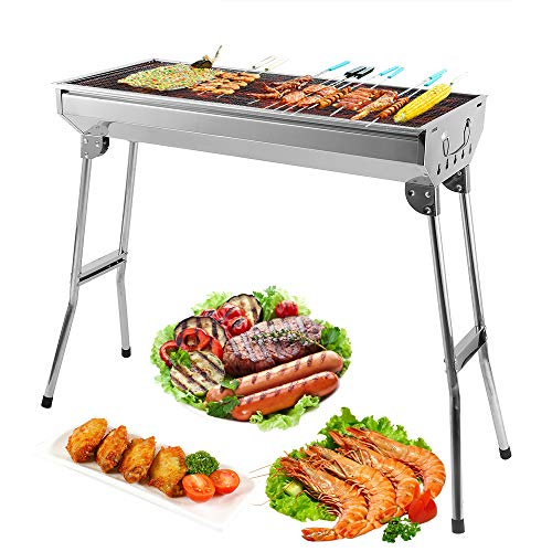 Uten BBQ Grill Picknickgrill Tragbarer Klappgrill Rost Holzkohlegrill Edelstahl Barbecue Holzkohle Grill Für BBQ Party…
