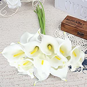 AerWo Calla Lily Flower Bouquet Real Touch Decorative Artificial Flower Wedding Party Festival Decor (Off White) 2