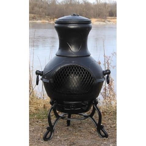 Cheap Outdoor Chimenea Fireplace – Etruscan in Charcoal Finish