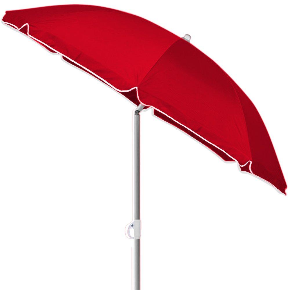 Deuba Umbrella Parasol Tilting Sun Shade Beach Sun Parasol with Tilt Function 200 cm / 79 inches Red Foldable Sun Umbrella DEUBA GmbH & Co. KG