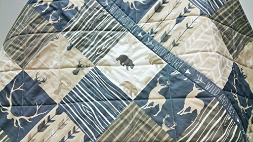 Rustic Woodland Baby Quilt in Neutrals by Now and Then Quilts