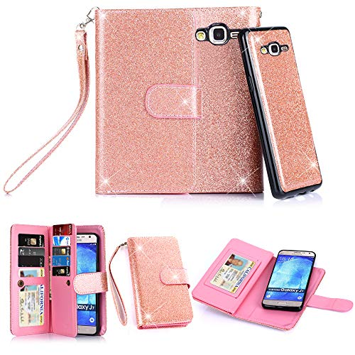 TabPow Galaxy J7 Case, 10 Card Slot - ID Slot, Wallet Folio PU Leather Case Cover With Detachable Magnetic Hard Case For Samsung Galaxy J7 J700 (2015) - Glitter Rose Gold
