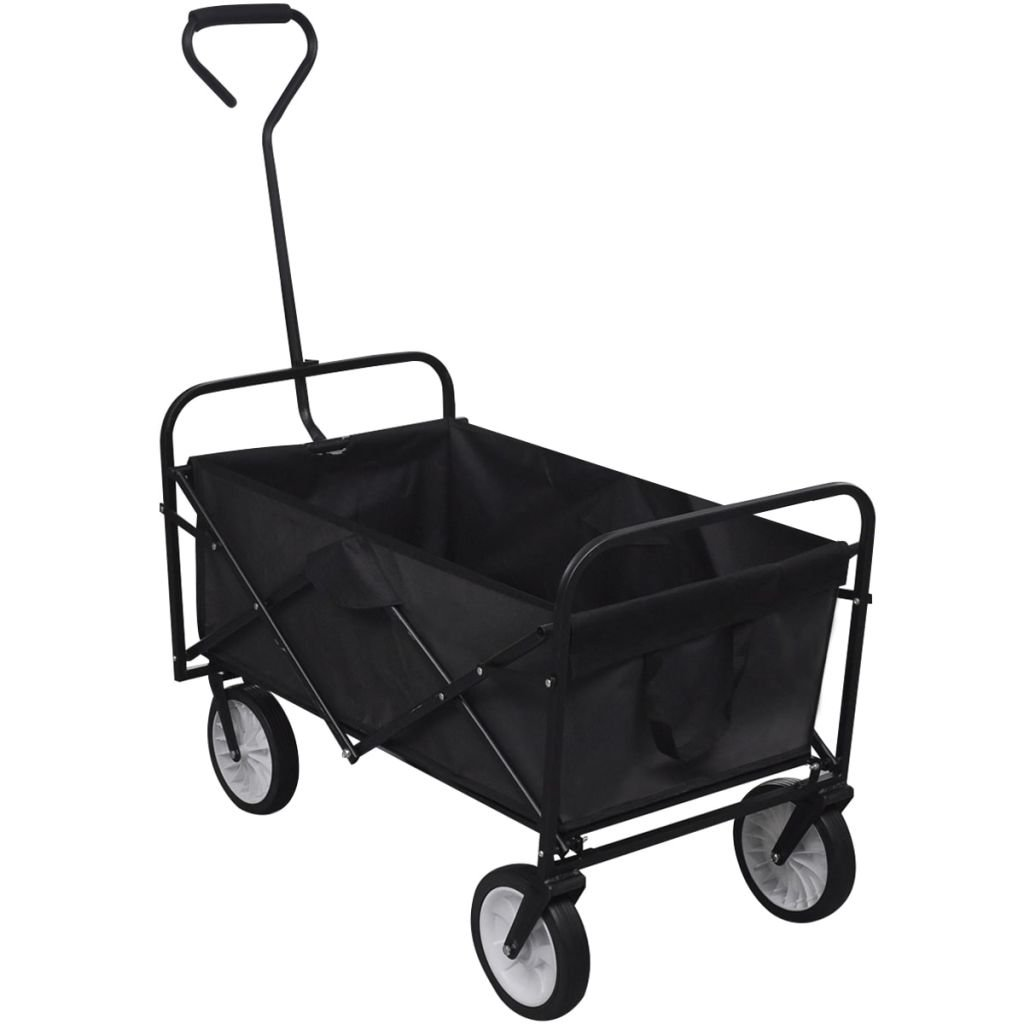 vidaXL Black Foldable Garden Trolley Trailer Steel Carrier Wheelbarrow Utility Cart