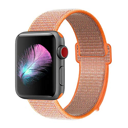 (HILIMNY Compatible for Apple Watch Band 38mm, New Nylon Sport Loop, with Hook and Loop Fastener, Adjustable Closure Wrist Strap, Replacement Band Compatible for iwatch, 38mm, Spicy)