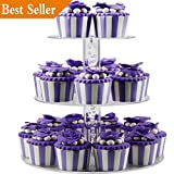 DYCacrlic 3 Tier Acrylic Birthday Cupcake Stand Tower - Tiered Party Cake Stand Tree - Dessert Display Holder - Cupcake Tower (3 Tier Round Rod)