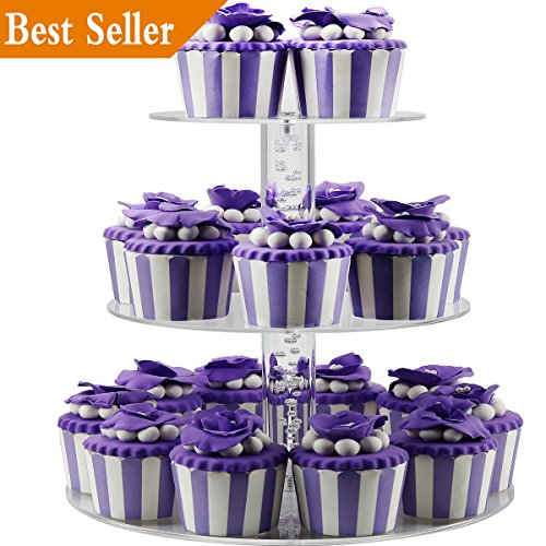 DYCacrlic 3 Tier Acrylic Birthday Cupcake Stand Tower - Tiered Party Cake Stand Tree - Dessert Display Holder - Cupcake Tower (3 Tier Round Rod) (3 Tier Food Stand)