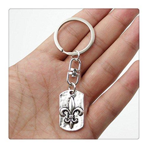 Fashion Car Keychain Silver Color Metal Key Chains Accessory, Vintage FLEUR DE LIS Key Rings by GIRBBY (Image #1)