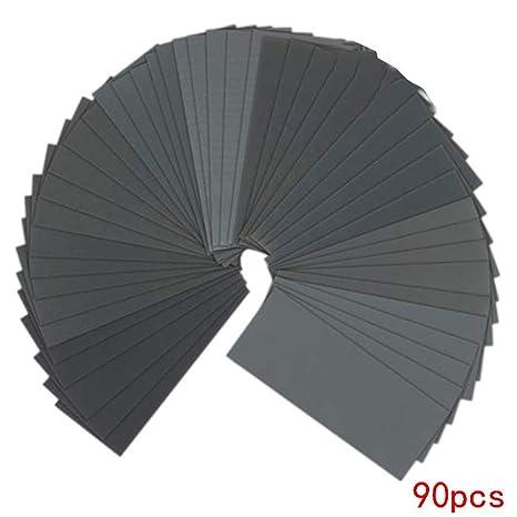 Refaxi 90pcs Wet Dry Sandpaper Assortment Abrasive Sanding