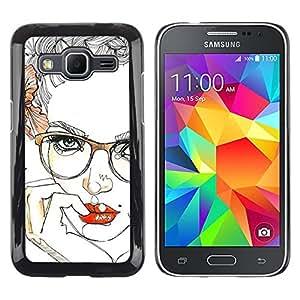 Paccase / SLIM PC / Aliminium Casa Carcasa Funda Case Cover - Lips Sensual Girl Red Smart Glasses - Samsung Galaxy Core Prime SM-G360