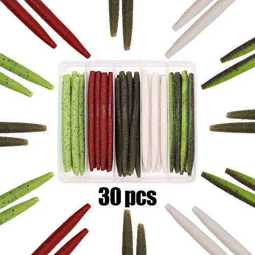 XFISHMAN Senko Worms Bass Fishing Lure Kit 30 pk Wacky Rig Worms Soft Plastic Stick Baits 4