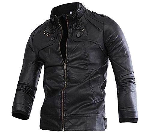 Swimblue Men's Slim Ultimate Stand-Collar PU Leather Jacket Coat Bomber Jacket Fashion BlackUS (Duster Leather)