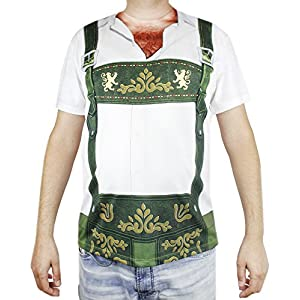 Faux Real Oktoberfest T-Shirt for Men – Lederhosen Hairy Chest Design – Adult Size