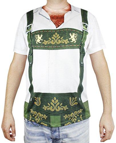 Faux Real Oktoberfest T-Shirt Men - Lederhosen Hairy Chest Design - Size X-Large