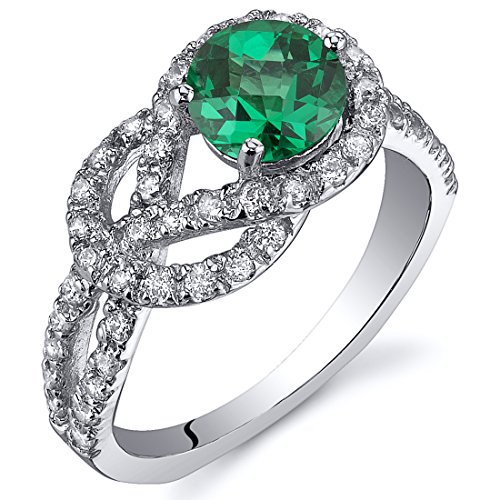 Simulated Emerald Ring Sterling Silver Rhodium Nickel Finish Round Cut 0.75 Carats Size 7 (Emerald Cluster Ring Setting)