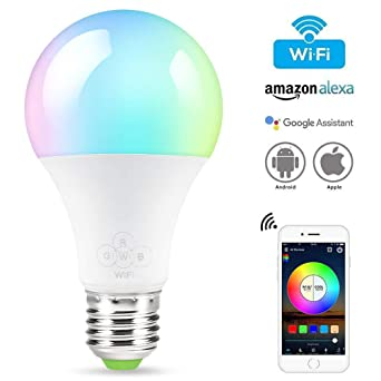 Vistefly Bombilla inteligentes WiFi para Alexa y Google Home, E27 Bombilla LED RGBW multicolor regulable