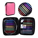 Circular Knitting Needles Set Size 13 Interchangeable Aluminum Knitting Needles Circular 2.75mm-10mm with Case