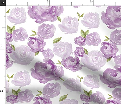 (Rose Collage Fabric - Roses Dark Light Textured Painted Peony Lavendar Violet Flower Cottage Pretty Garden by Laurapol Printed on Minky Fabric by The Yard)