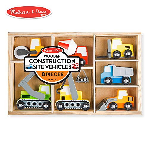 Melissa & Doug Wooden Construction Site Vehicles With Wooden Storage Tray (8 ()